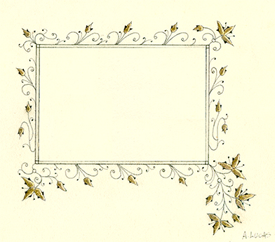 Ink and Gold border - raised gesso gilding, ink on vellum